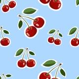 Modell av olika format för röda stora körsbärsröda klistermärkear med sidor på blå bakgrund Royaltyfria Bilder