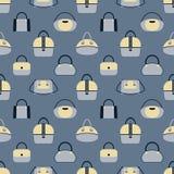 Modell av olika handväskor för trendiga kvinnor s i blått- och beigafärger stock illustrationer