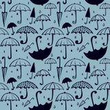 Modell av paraplyer och droppar Vektor Illustrationer