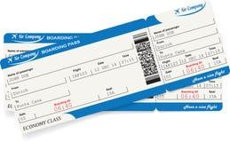 Modell av två biljetter för flygbolaglogipasserande Arkivfoto