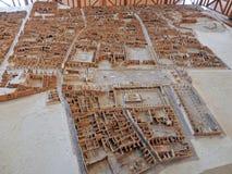 Modell av utgrävningarna av Pompeii royaltyfria bilder