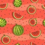 Modell av vattenmelon och skivor, sömlös bakgrund Arkivfoto