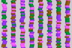 Modell av violetta och gröna cylinderminnestavlor för brunt, på vitbac vektor illustrationer