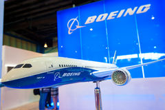 Modell Boeings 787 Dreamliner im Singapur Airshow 2014 Stockfotografie