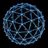 modell 3d av den abstrakta sfären på svart bakgrund Arkivfoto