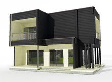 modell 3d av det svartvita trähuset på en vit bakgrund. Arkivfoton