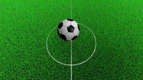 modell 3D av fotbollbollen Studsa för fotbollboll på fotbollgraden arkivfilmer