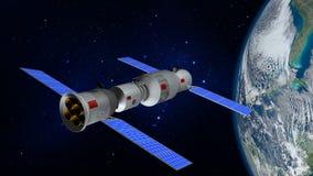Modell 3D der chinesischen Raumstation Tiangong, welches die Planet Erde in Umlauf bringt Lizenzfreies Stockfoto