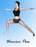 Modell 3d in der Kriegers-Yoga-Haltung Stockfoto