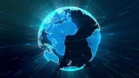 Modell 3d der spinnenden Erde gemacht von den Partikeln Globales Verbindungskonzept Schlingender nahtloser Hintergrund lizenzfreie abbildung