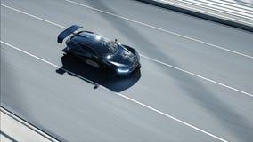 Modell 3d des schwarzen futuristischen Autos auf der Br?cke Sehr schnelles Fahren Konzept von Zukunft Wiedergabe 3d vektor abbildung