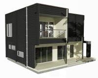 Modell 3d des Schwarzweiss-Holzhauses auf einem weißen Hintergrund. Stockbild