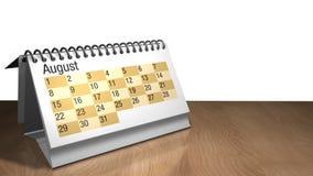 Modell 3D eines August-Tischplattenkalenders in der weißen Farbe auf einem Holztisch auf weißem Hintergrund Lizenzfreies Stockfoto