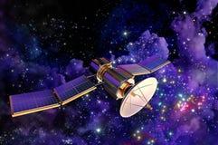 Modell 3D eines künstlichen Satelliten der Erde Stockbild