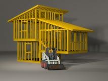 Modell 3d eines Spaltenniveau-Hausrahmens Lizenzfreies Stockfoto