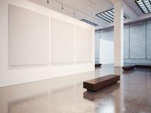 Modell der leeren Galerie mit Bank 3d übertragen Lizenzfreie Stockfotos