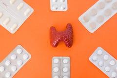 Modell der Schilddrüse umgeben durch sechs Blisterpackungen mit weißen Pillen nach innen in den Ecken des Bildes auf orange Hinte Stockbilder