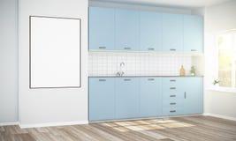 Modell des großen Plakats an der minimalen Küche lizenzfreie abbildung