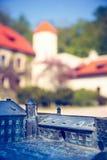Modell des Schlosses in Pieskowa Skala mit wirklichen Gebäuden im Hintergrund, Blindenschrift-System Stockfotos