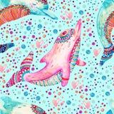 Modell för älskvärda delfin för vattenfärg sömlös på bakgrund med bubblor vektor illustrationer
