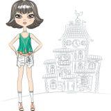 Modell för överkant för flicka för vektorhipstermode i staden Arkivfoton