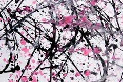 Modell för abstrakt expressionism Stil av droppandemålning Svart R royaltyfri fotografi
