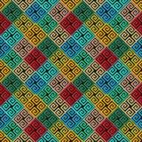 Modell för abstrakt geometrisk vektor för grek sömlös färgrikt dekorativt för bakgrund Geometriprydnader med belagd med tegel gre stock illustrationer