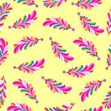 Modell för abstrakt vektor för rosa färgblommakronblad sömlös på en gul bakgrund Arkivfoto