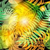 Modell för abstrakt vektor för höstpalmblad sömlös royaltyfri illustrationer