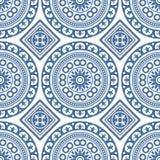 Modell för Azulejo sömlös portugisisk tegelplattablått vektor royaltyfri illustrationer