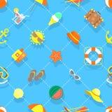 Modell för bakgrund för plana för sommarsemester symboler för strand sömlös Royaltyfri Foto