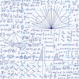 Modell för bildande vektor för matematik sömlös med formler, likställande och geometriska diagram som är handskrivna på rasterför vektor illustrationer