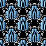Modell för blå damast vektor för broderi sömlös Gobelängornamen Royaltyfri Illustrationer