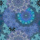Modell för blå tappning för pastell sömlös i orientalisk stil Indier arabiska, ottoman, turk, japan, blom- kines Arkivbild