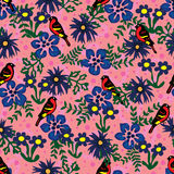 Modell för blad för gräsplan för fågelblåttblomma sömlös stock illustrationer