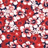 Modell för blom- hibiskus för bränning sömlös stock illustrationer