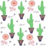 Modell för blom- udda rolig kaktus för natur sömlös och sömlöst PA vektor illustrationer