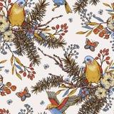 Modell för blom- vår för vektortappning sömlös med fåglar, granfilialer, bomull, blommor och fjärilar stock illustrationer