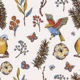 Modell för blom- vår för vektortappning sömlös med fåglar, granfilialer royaltyfri illustrationer