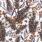 Modell för blom- vår för vektortappning sömlös med granfilialer, bomull, blommor och fjärilar stock illustrationer
