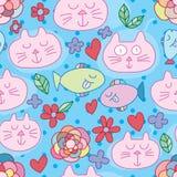 Modell för blomma för fisk för förälskelse för kattbaddröm sömlös royaltyfri illustrationer