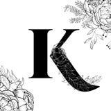 Modell för blommaalfabetbokstav K royaltyfri illustrationer