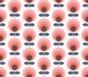 modell för blommor för korall för Mitt--århundrade cirkellutning sömlös fotografering för bildbyråer