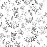 Modell för blommor och för fåglar för svartvit hand utdragen sömlös stock illustrationer