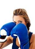 modell för boxningögonhandskar Arkivfoto