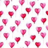 Modell för dag för vattenfärgSt-valentin Den romantiska rosa färgen sväller i formhjärtor För kort, design, tryck eller bakgrund vektor illustrationer