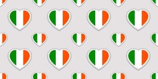 Modell för dag för vektorSt Patrick ` s sömlös Bakgrund med Irland nationsflaggaklistermärkear Traditionella färger Irländsk kult stock illustrationer