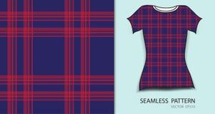 Modell för för design för T-tröja sömlös, röd och blå plädtartan Arkivfoton
