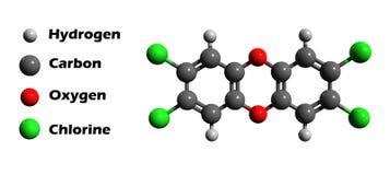 modell för dioxin 3d Arkivbild