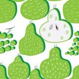 Modell för druva för päronstil gullig ny en sömlös vektor illustrationer
